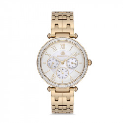 Ženski Bigotti multifunction beli zlatni elegantni ručni sat sa zlatnim metalnim kaišem