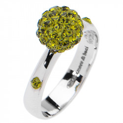 Amore Baci Kuglica srebrni prsten sa Zelenim swarovski kristalom 54 mm