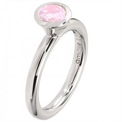 Amore Baci srebrni prsten sa jednim okruglim Rozim swarovski kristalom 53 mm