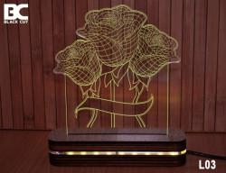 Black Cut 3D Lampa jednobojna - Ruže ( L03 )
