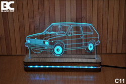 Black Cut 3D Lampa jednobojna - Yugo ( C11 )