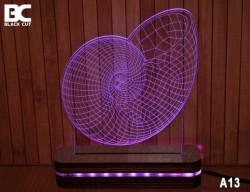 Black Cut 3D Lampa sa 9 različitih boja i daljinskim upravljačem - Puž ( A13 )