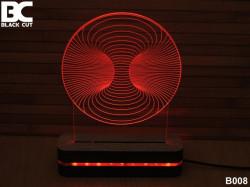 Black Cut 3D Lampa sa 9 različitih boja i daljinskim upravljačem - Vrtlog ( B008 )