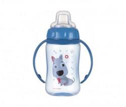Canpol baby flašica/šolja sa kljunom i ručkama 56/512 Happy animals - training 320ml - dog ( 56/512_blu )