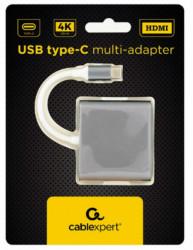 Gembird USB type-C multi-adapter, HDMI, USB, space grey A-CM-HDMIF-02-SG