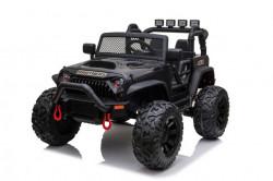 Jeep Brothers na akumulator sa kožnim sedištem i mekim gumama - Crni