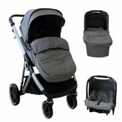 Kolica bbo urban life 3u1 - light grey (sportsko sediste sa navlakom+korpa+autosediste) ( T900LGREY )