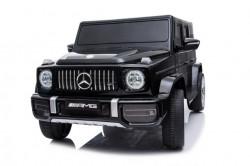 Mercedes G63 Licencirani Džip na akumulator sa kožnim sedištem i mekim gumama - Crni