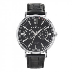 Muški Certus Multifunction Crni Elegantni ručni sat sa crnim kroko kožnim kaišem