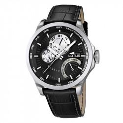 Muški Lotus Multifuncion Crno Beli Sportski ručni sat sa crnim kožnim kaišem i 24 koronom