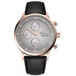 Muški Pierre Ricaud Chronograph Sivi Roze Zlatni Elegantni Ručni Sat Sa Crnim Kožnim Kaišem