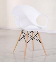 Plastična trpezarijska stolica D-02 - Bela
