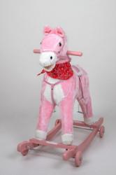 Plišani konjić klackalica + dodatak točkići - Pink