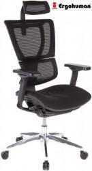 Radna stolica - ERGOHUMAN BLACK - Crna mreža - crni ram