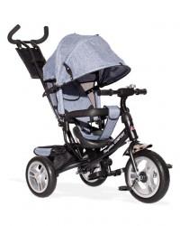 Tricikl Guralica 417-1 Comfort sa podesivim naslonom i tendom od lanenog platna - Sivi