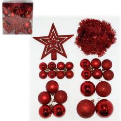 Ukrasni set - kuglica,girlanda,vrh, crveni ( 51-963000 )