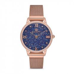 Ženski Bigotti plavi roze zlatni elegantni ručni sat sa roze zlatnim pancir kaišem