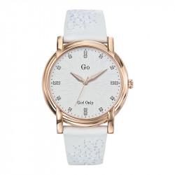 Ženski Girl Only Envole moi Roze Zlatni ručni sat sa belim cvetnim kožnim kaišem
