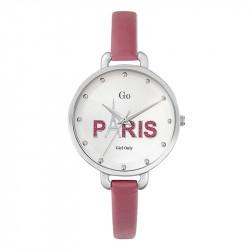 Ženski Girl Only Paris Roze Modni ručni sat sa rozim kožnim kaišem