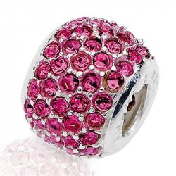 Amore Baci Ciklama srebrni privezak sa swarovski kristalom za narukvicu