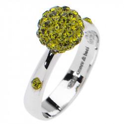 Amore Baci Kuglica srebrni prsten sa Zelenim swarovski kristalom 53 mm