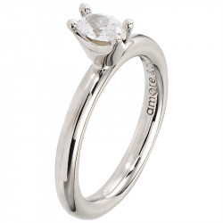Amore Baci srebrni prsten sa jednim belim swarovski kristalom 53 mm
