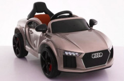 Audi MIni Auto na akumulator sa kožnim sedištem i mekim gumama - Metalik siva