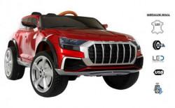 Automobil 257-1 na akumulator sa kožnim sedištem i mekim gumama - Metalik crveni