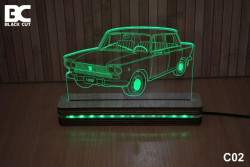 Black Cut 3D Lampa jednobojna - Lada ( C02 )