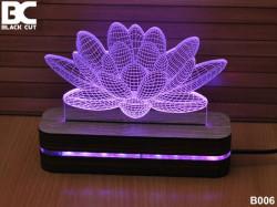 Black Cut 3D Lampa jednobojna - Lotus ( B006 )