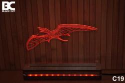 Black Cut 3D Lampa jednobojna - Pterosaurus ( C19 )