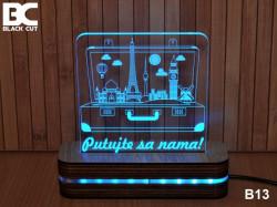 Black Cut 3D Lampa jednobojna - Putujte sa nama ( B13 )