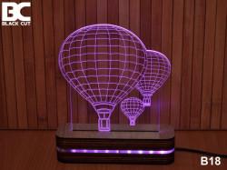 Black Cut 3D Lampa sa 8 različitih boja i daljinskim upravljačem - Cepelin ( B18 )