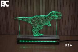 Black Cut 3D Lampa sa 9 različitih boja i daljinskim upravljačem - Tiranosaurus ( C14 )