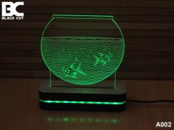 Black Cut 3D Lampa sa 9 različitih boja i daljinskim upravljačem - Akvarijum ( A002 )