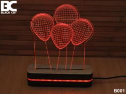 Black Cut 3D Lampa sa 9 različitih boja i daljinskim upravljačem - Baloni ( B001 )