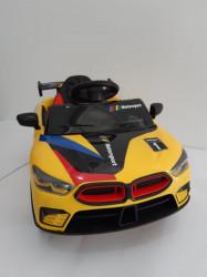 BMW MOTO SPORT - Žuti Auto na akumulator sa kožnim sedištem + funkcija ljuljanja