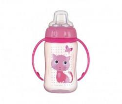 Canpol baby flašica/šolja sa kljunom i ručkama 56/512 Happy animals - training 320ml - cat ( 56/512_pin )