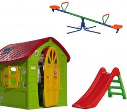 Dečiji komplet za dvorište ( SET 3 ) Kućica + Tobogan + Klackalica