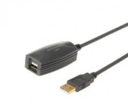 E-GREEN Kabl sa pojačivačem USB A - USB A MF 5m crni