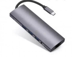 Fast Asia Adapter-konvertor TIP-C na HDMI + 4XUSB 3.0 + TIP C + SDMicro + Audio+VGA + RJ45