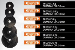 Gim Fit gumirani teg čelik 15kg 30mm ( 291454 )