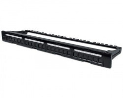 "Intellinet Patch Panel 19"" blank 24-Port 1U with cable managment crni"