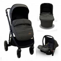 Kolica bbo urban life 3u1 - dark grey (sportsko sediste sa navlakom + korpa + autosediste) ( T900DGREY )