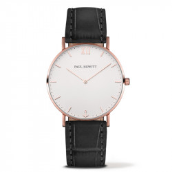 Paul Hewitt Sailor Line Beli Roze Zlatni ručni sat sa crnim kožnim kaišem
