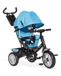 Tricikl Guralica 417-1 Comfort sa podesivim naslonom i tendom od lanenog platna - Plavi