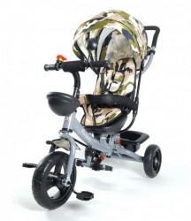 Tricikl Guralica Playtime Army 406-1 sa mekim sedištem - Mat sivi ram