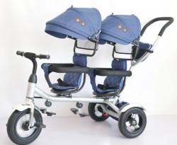 Tricikl Playtime 412-1 TWINS sa dva sedista i lanenim platnom - Plavi