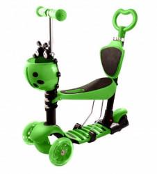 Trotinet 5u1 za decu sa sedištem i svetlećim točkovima Model 652 - Zeleni