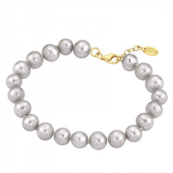 Ženska Lotus Silver Hidra Zlatna srebrna Narukvica sa sivim perlama